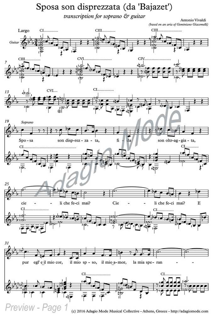 Vivaldi - Sposa son disprezzata (for soprano & guitar)